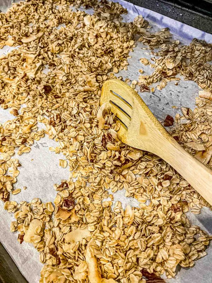 Stirring granola every 15 minutes in the oven