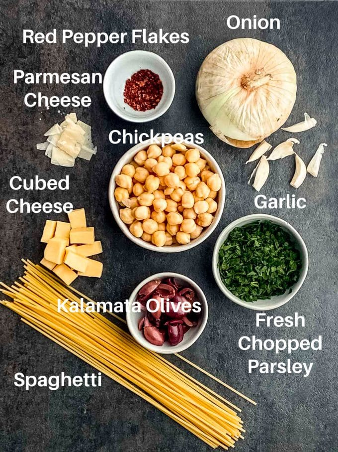 ingredients to make chickpea pasta labeled: spaguetti, chickpeas, onions, garlic, olives, cheese, chopped parsley and red pepper flakes