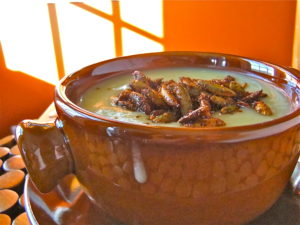 A terra cotta bowl filled with creamy celeriac soup topped with spiced pumpkin seeds