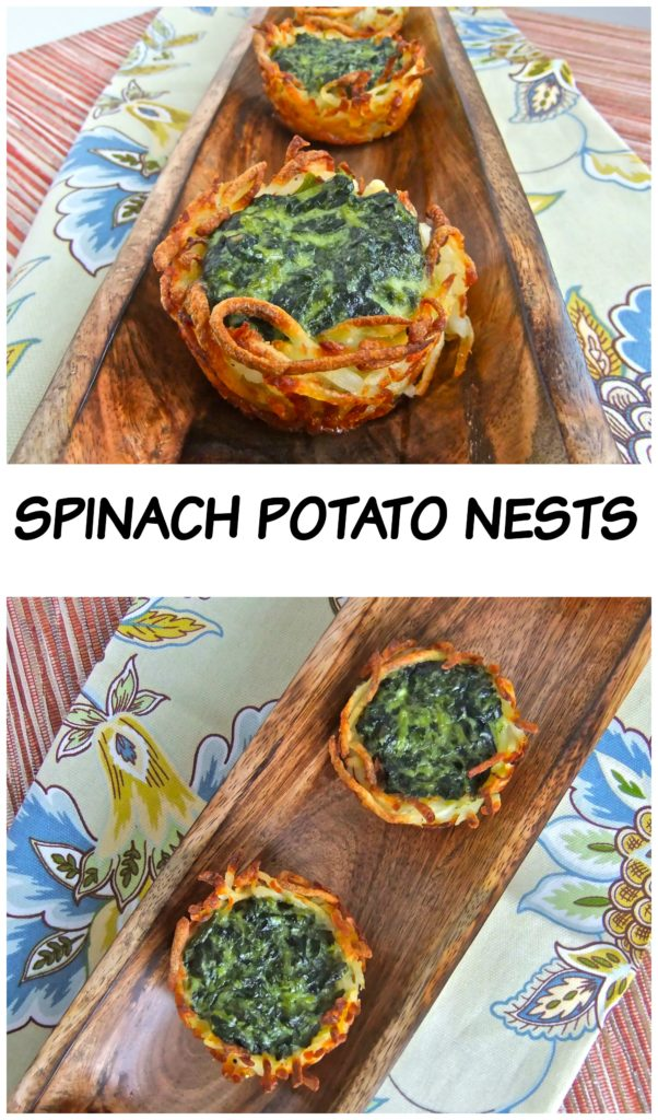 Spinach Potato Nest - Crispy nest filled with creamy spinach #passover #vegetarian #gluten free #potato #spinach