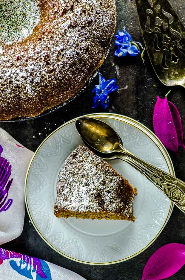 Bird's eye view of a slice of passover walnut cake. One of our vegetarian Passover recipes.