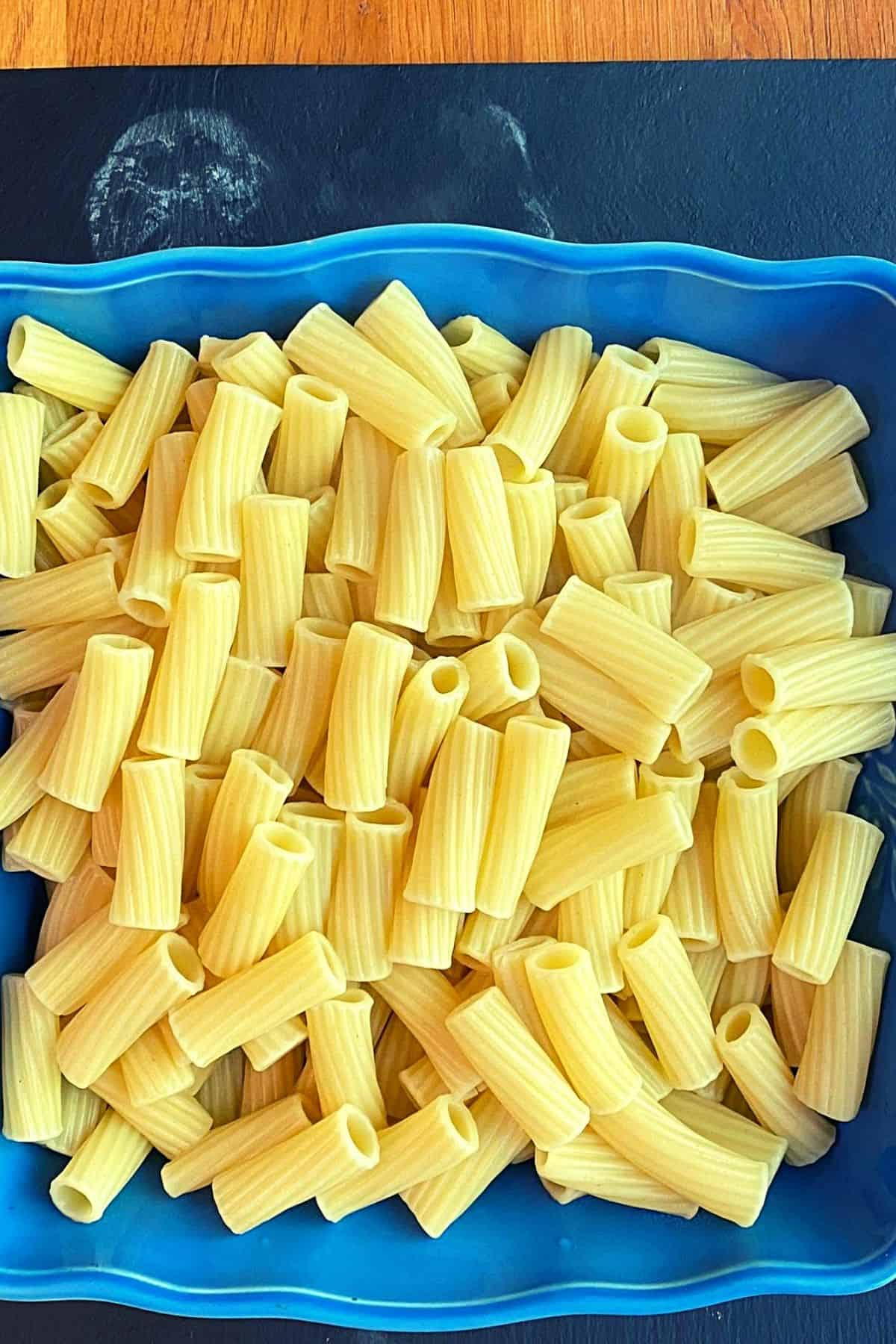 A close view of pasta noodles after being cooked