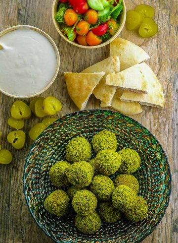 Green Baked Falafel with Tahini