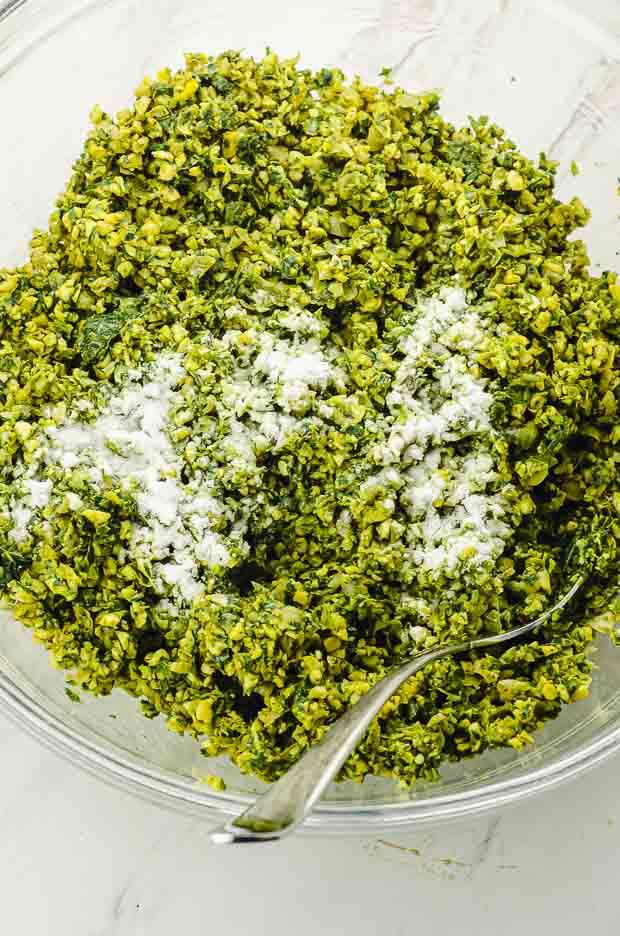 Adding baking powder to the falafel mixture