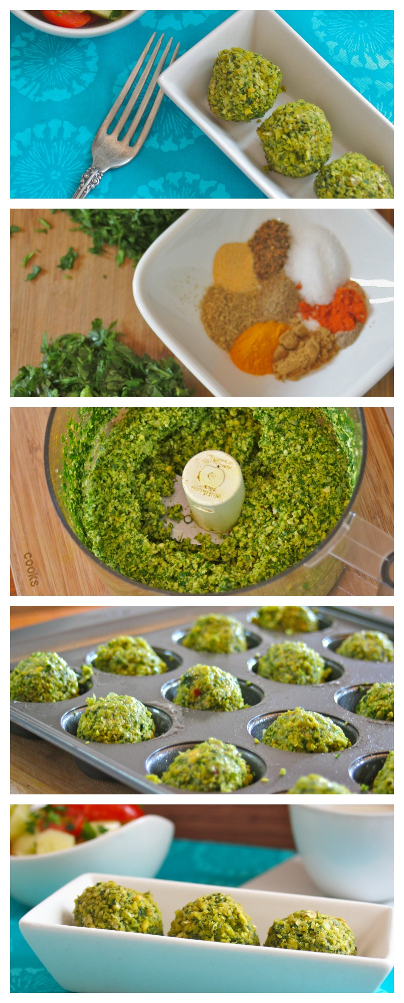 Would  you like to try a different vegetarian dish for your next Super Bowl party,  get together, potluck dinner or meatless Monday?  Give our Green Baked Falafel a try. You'll love it. This green Baked Falafel recipe is guilt free, vegan, vegetarian, gluten free, kosher, super flavorful and easy to make.  It is always fun to make recipes using a muffin tin.