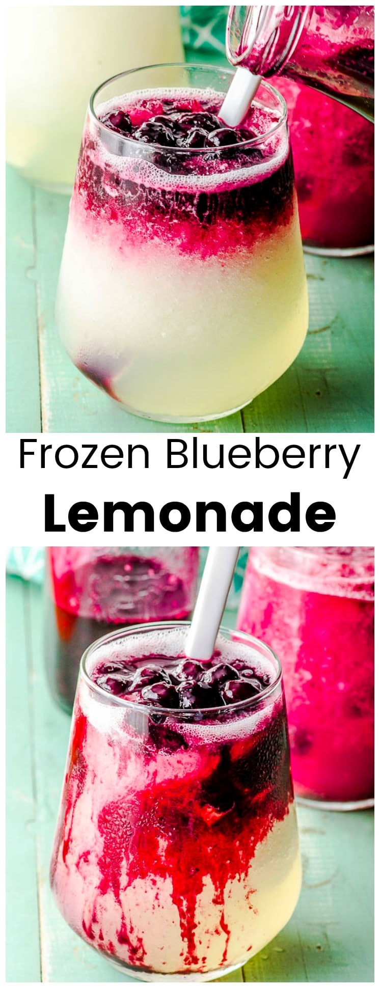 This refreshing Frozen Blueberry Lemonade, will become your new favorite frozen summer drink. Made with a delicious combination of tangy lemons and sweet blueberries. #lemonade #blueberries #blueberry #drink  #summer