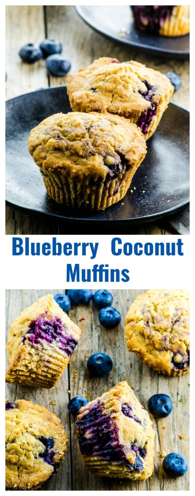 If you like those gigantic coffee shop muffins, you're gonna love these Vegan Coconut Blueberry Muffins! Lighter, satisfying and made with clean ingredients (and much smaller, too!)