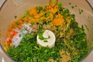 Falafel ingredients in the food processor
