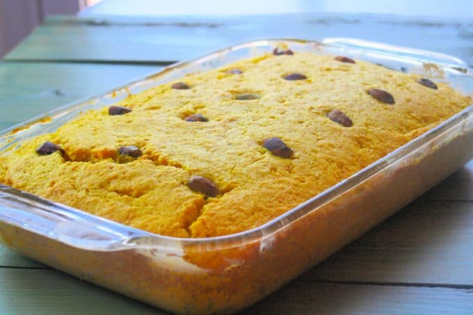 Turmeric cake baked, right ourt of the oven