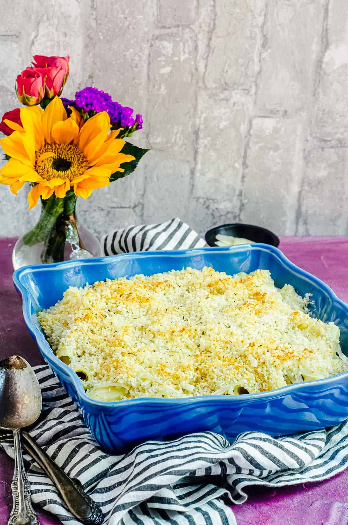 An angular view of Vegan Mac and Cheese in blue dish