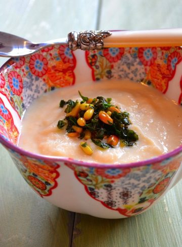 Creamy Vegan Corn Soup with Basil and Pine Nuts