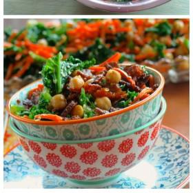 Kale & Chickpea Salad with crunchy tempeh bits #vegan #vegetarian #kale #recipe #MemorialDay #salad #kosher