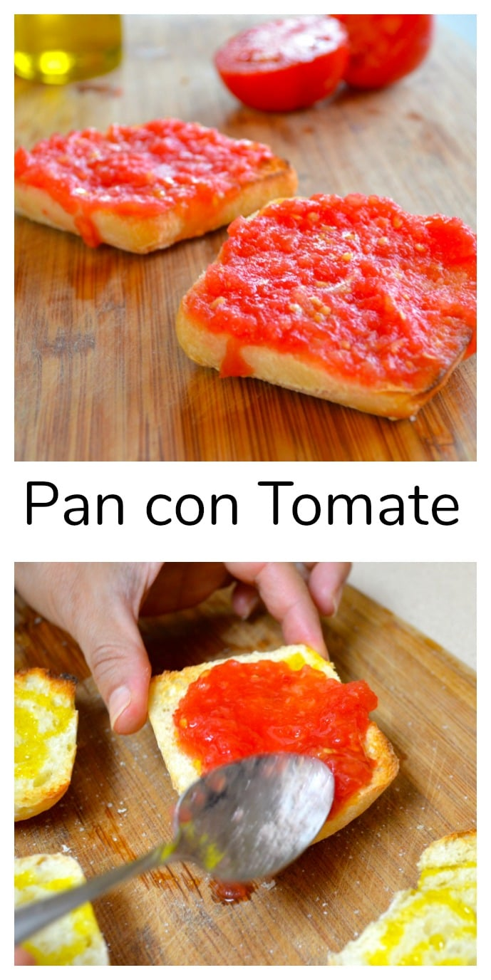 Pan con tomate is a simple yet delicious tapa from Barcelona. Toasted bread, with fresh grated tomatoes, olive oil, and salt. Comfort food Barcelona Style! #tapas #Spain #Summer #tomatos #vegan #vegetarian #kosher