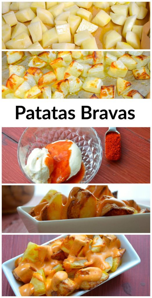 Tapas from Spain: Patatas Bravas - Potatoes with a spicy mayo sauce #passover #vegetarian #gluten Free