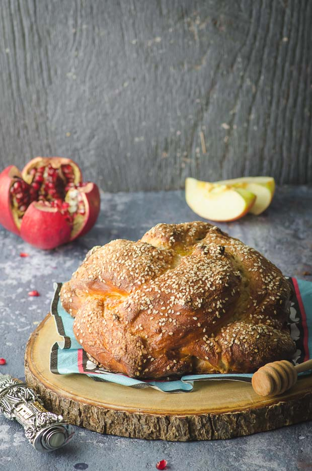 Side view of an apple and honey challah