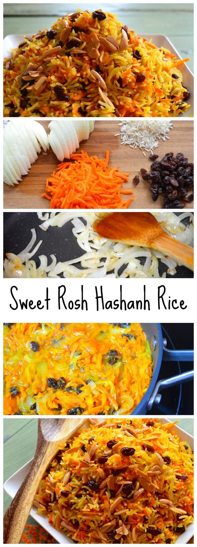 Rosh Hashanah Sweet Basmati Rice with Carrots & Raisins - This Sweet and fragrant basmati rice with carrots and raisins is the perfect vegetarian side dish for any holiday meal. In our house this is a Rosh Hashanah Favorite.Vegan and Gluten Free.
