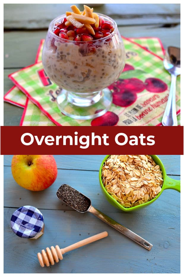 Collage of two images, one overnight oats ingredients and the other a glass cup with overnight oats