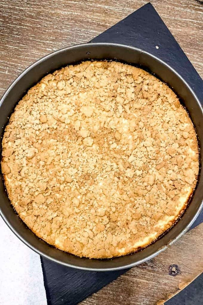 Overhead view of completed apple pie cheesecake