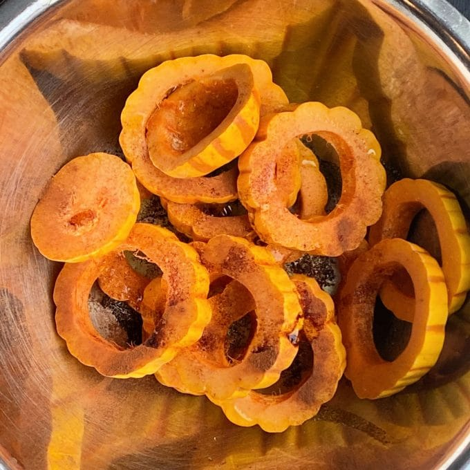 Seasoned delicata squash rounds