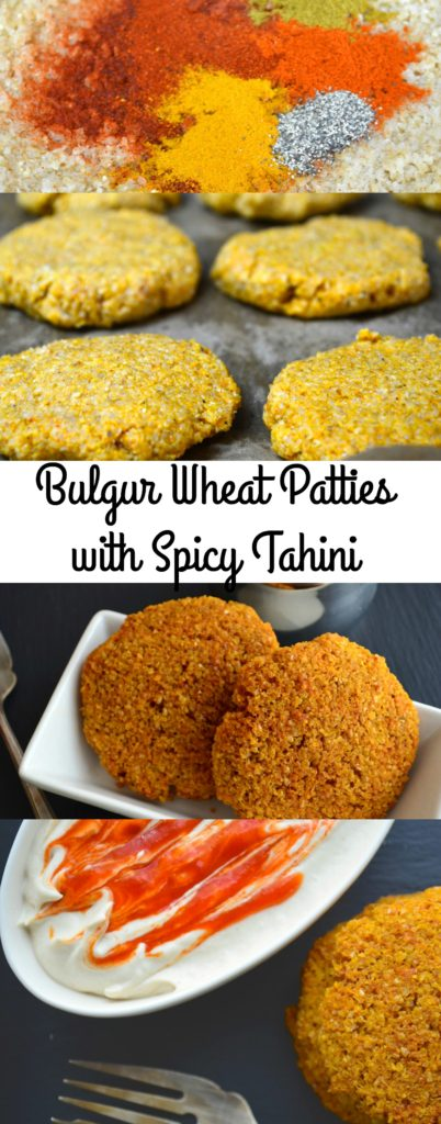 Bulgur wheat patties with spicy tahini - Vegan, vegetarian, Middle Eastern appetizer.