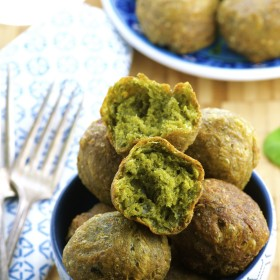 Spinach and cheese donut holes - a great savory combination of spinach and cheese fried to a perfect crisp. great chanukah ( hanukkah) treat