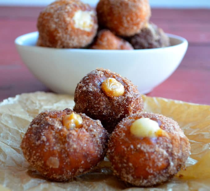 Close up view of donut cream filled donut holes