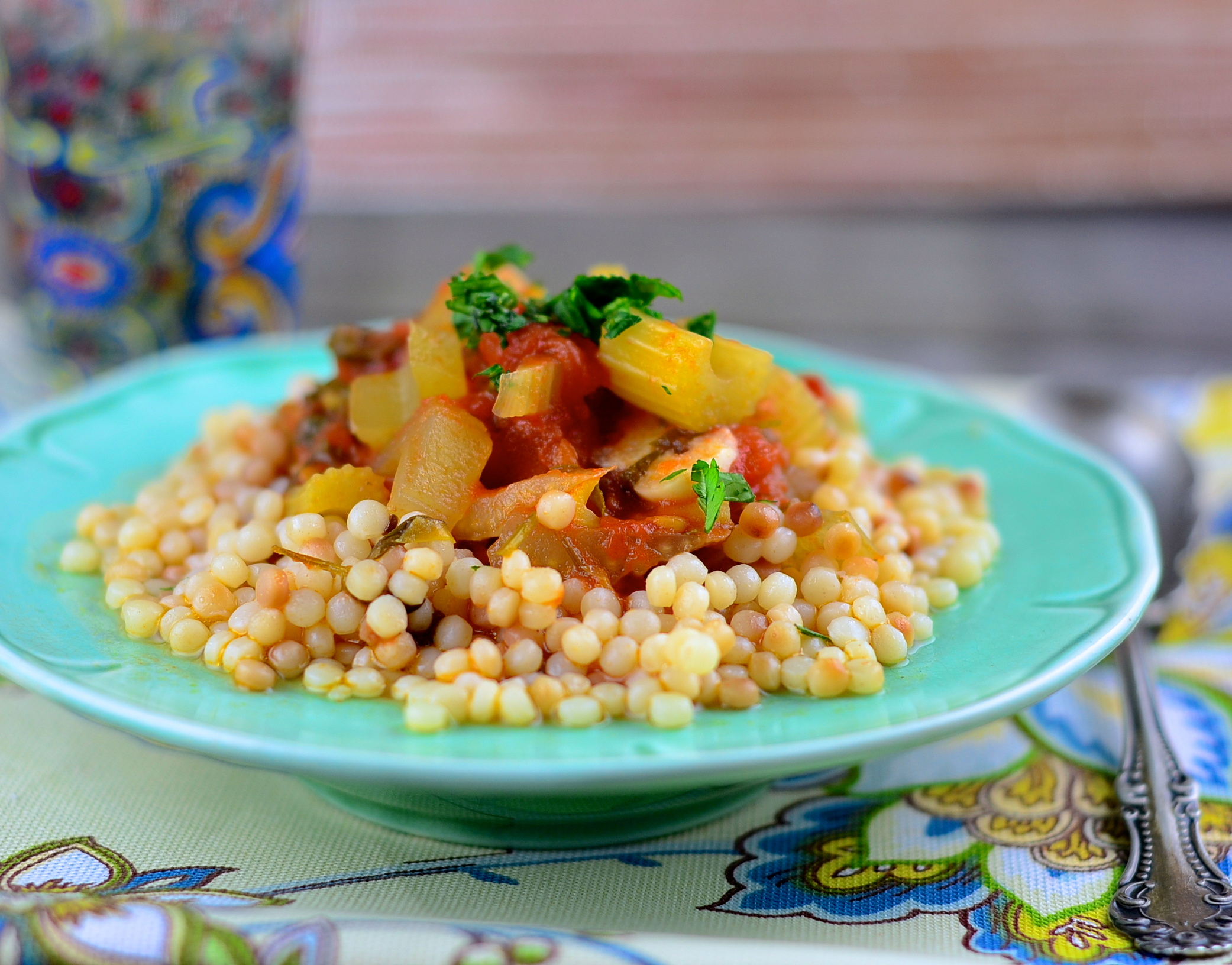 ... vegetables grilled eggplant and red pepper with israeli couscous
