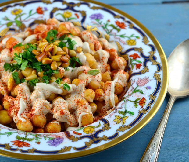 Deconstructed Hummus with Pine Nuts