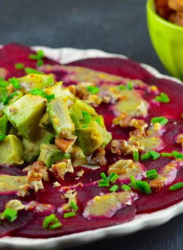 Beet Carpaccio With Avocado & Chia Seed Dressing
