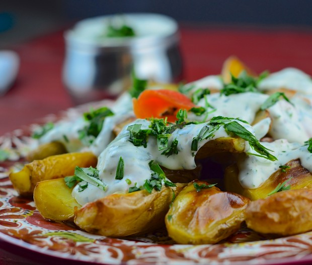 Fingerling potatoes with creamy tarragon sauce