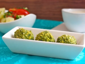 BAKED FALAFEL WITH TANGY TAHINI SAUCE