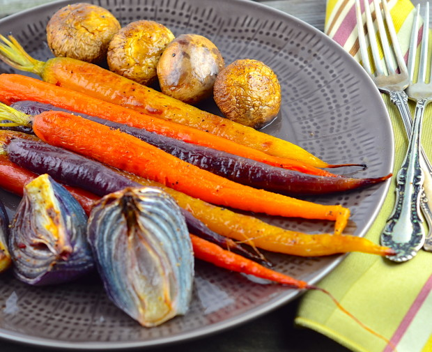 Roasted multicolor carrots