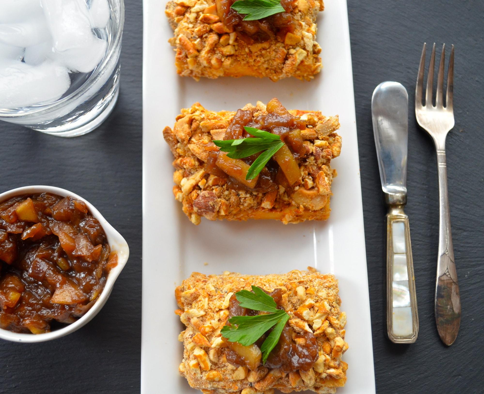 pretzel & cashew crusted tofu #Cashews #tofu #pretzel #Vegetarian #thanksgiving #vegan #kosher #parve #chutney #main #entree