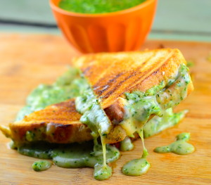 vegan tomatillo salsa grilled cheese