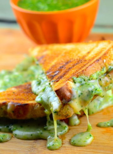 Super Gooey Vegan Grilled Cheese Sandwich With Roasted Tomatillo Salsa (Napkin Required!)