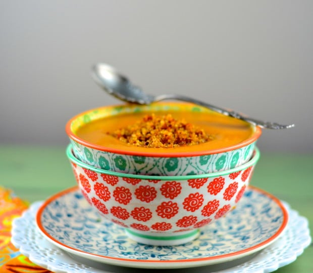 Creamy spicy vegan carrot soup
