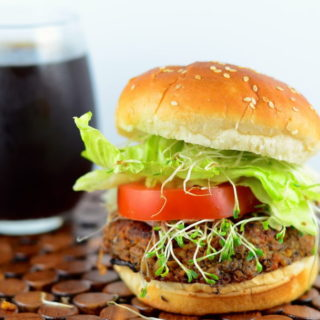 Vegans can also enjoy a nice juicy burger. This recipe is made with organic 3 grain tempeh and black beans. Enjoy!