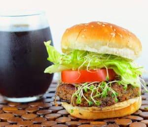 Vegan tempeh and black bean burger #memorialDay #VeggieBurger #BlackBeans #vegan #Tempeh #kosher