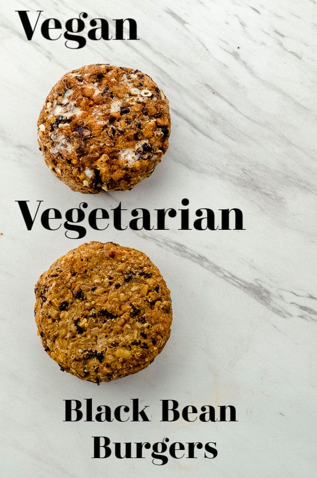 Showing two black bean burgers, one vegan and one vegetarian