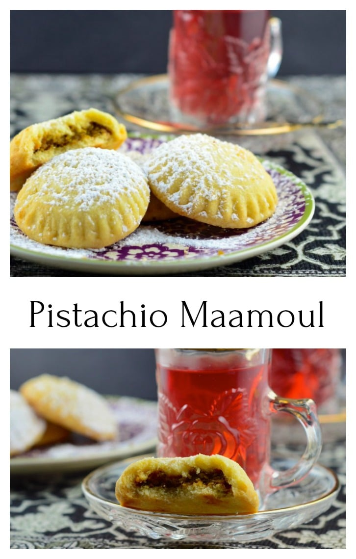 Maamoul is a orange blossom scented, pistachio filled semolina cookie, that melts in your mouth. We used coconut oil instead of butter to make these maamoul vegan. #vegan #maamoul #cookies #dessert #sweets #middle Eastern