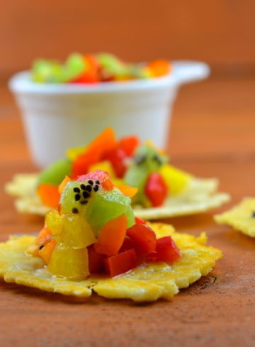 Parmesan Crisps With 3 Pepper & Kiwi Salsa