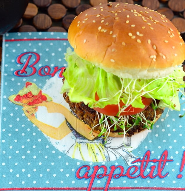 Vegan tempeh and black bean burger