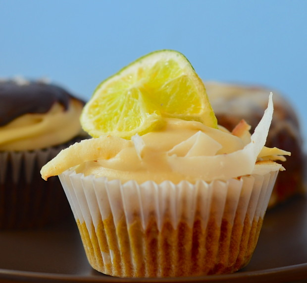 Coconut-lime cupcake. Slightly sweet and tangy!