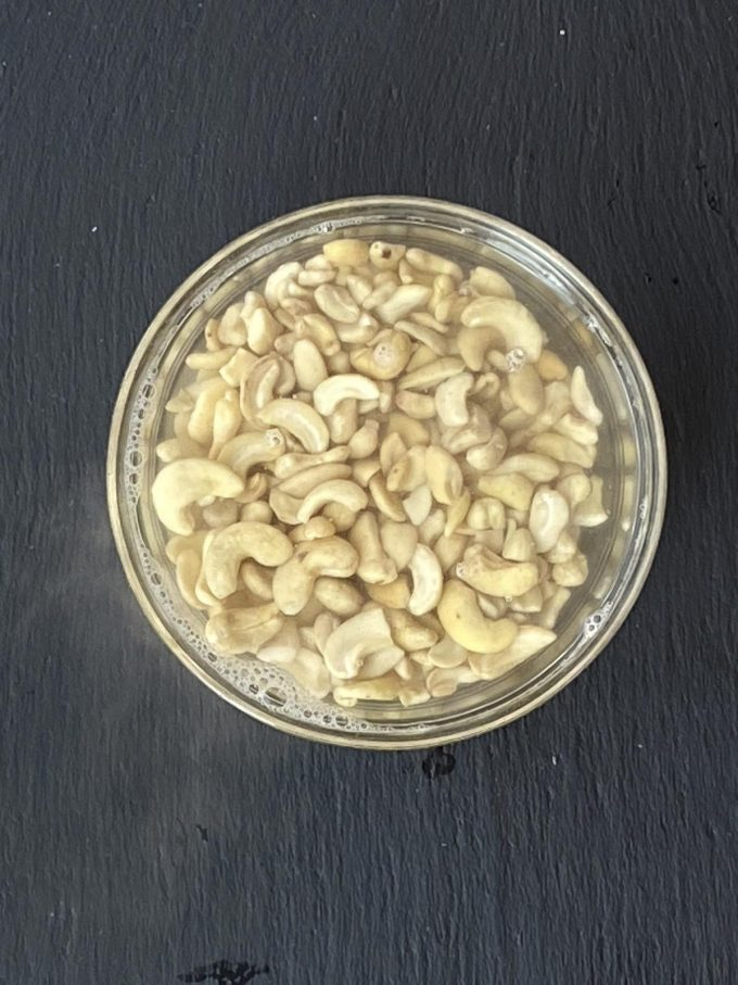 Cashews soaked in hot water