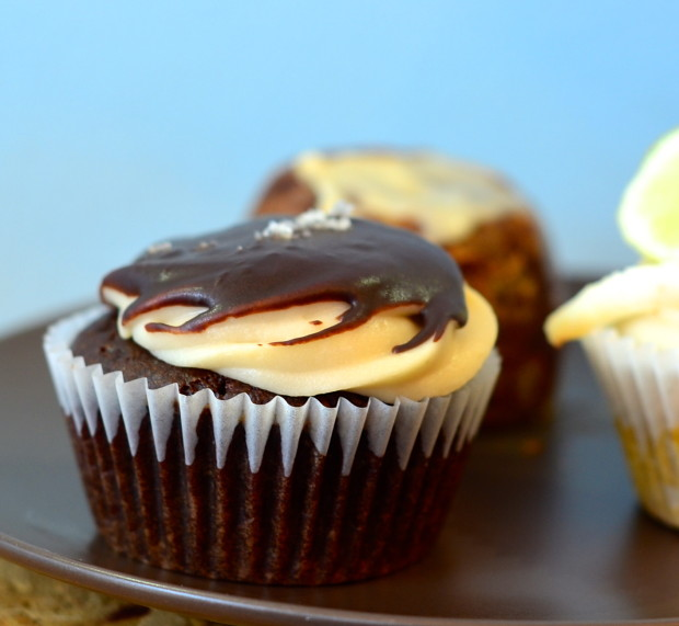 Salted caramel cupcake (one of our favorites!!!)