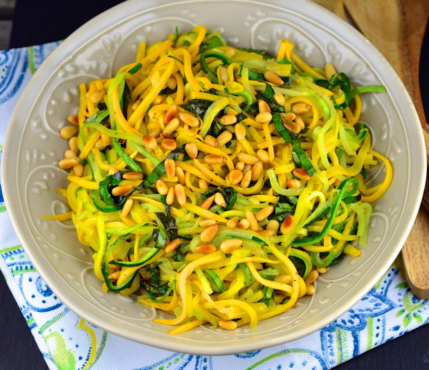 DSC_0558Yellow and Green Zucchini Spaghetti with basil and Pine Nuts