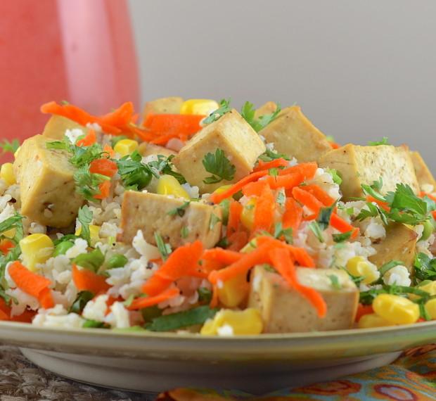 cold rice tofu salad