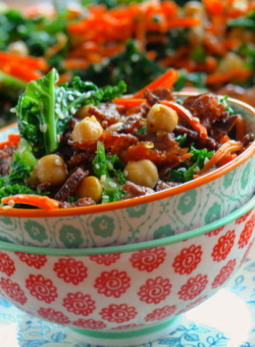 Kale Salad with Chickpeas and Tempeh Bacon Bits