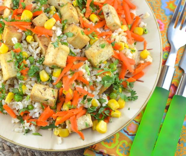Rice and tofu salad