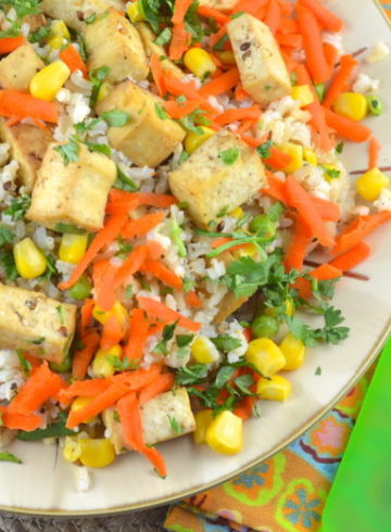 Cold Rice and Tofu Salad with 3 Mustard Dressing. Blog Swap Round Up and Giveaway